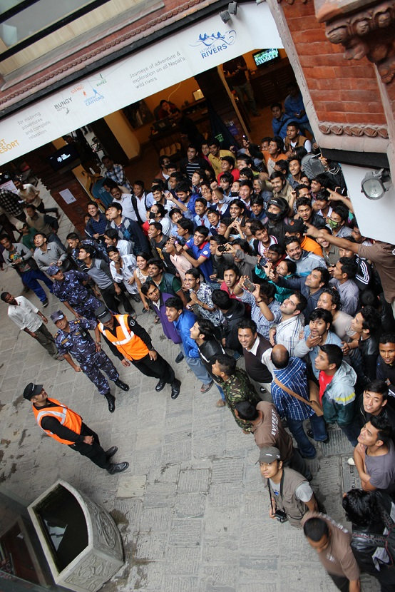 The secured crowd inside Mandala Street