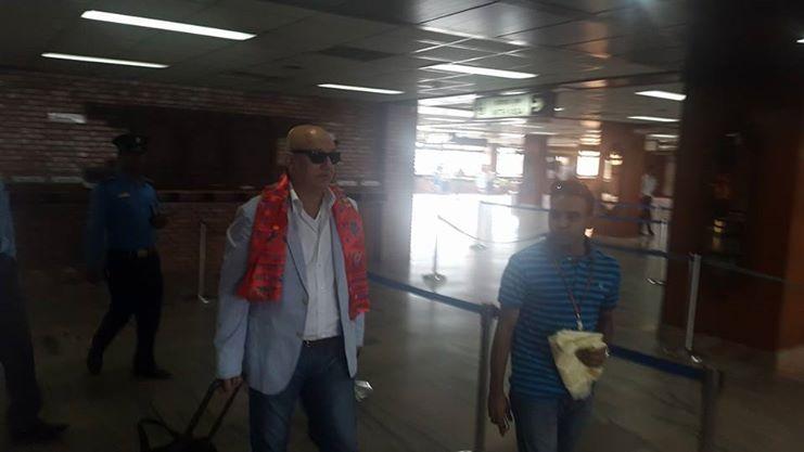 Anupam Kher arrives in Kathmandu. Photo: Ritesh (Facebook)