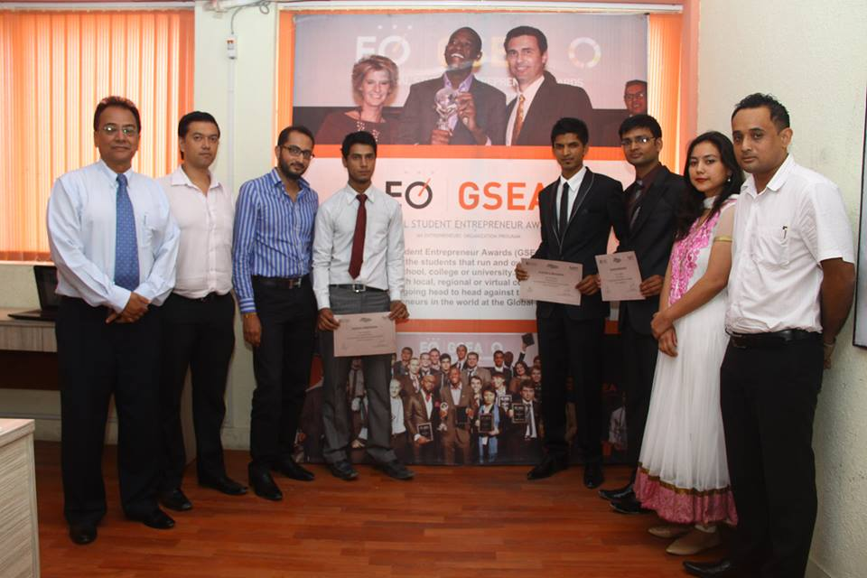 Ritesh and Ravi with Mr. Hitesh Golchha (Golchha Enterprises), Mr. Sanket Lamichaane (Linez Advertising), Anand Tuladhar (Blue Bird Mall) and first from right - Mr. Subodh and Miss Reetal Rana (Mid Valley International College for Hotel Management)