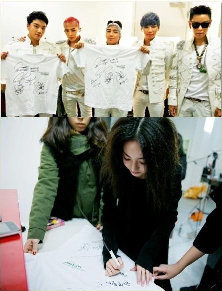 Big Bang and 2NE1 sign t-shirts