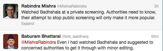 Rabindra Mishra and Dr Baburam Bhattarai tweet about Badhshala