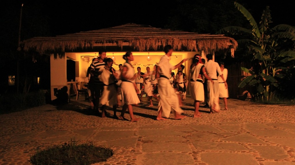 Tharu Cultural Dance on our first night. The bar just behind.