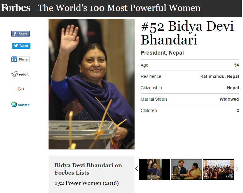 Bidya-Devi-Bhandari-Forbes-Power-Women-2016-List