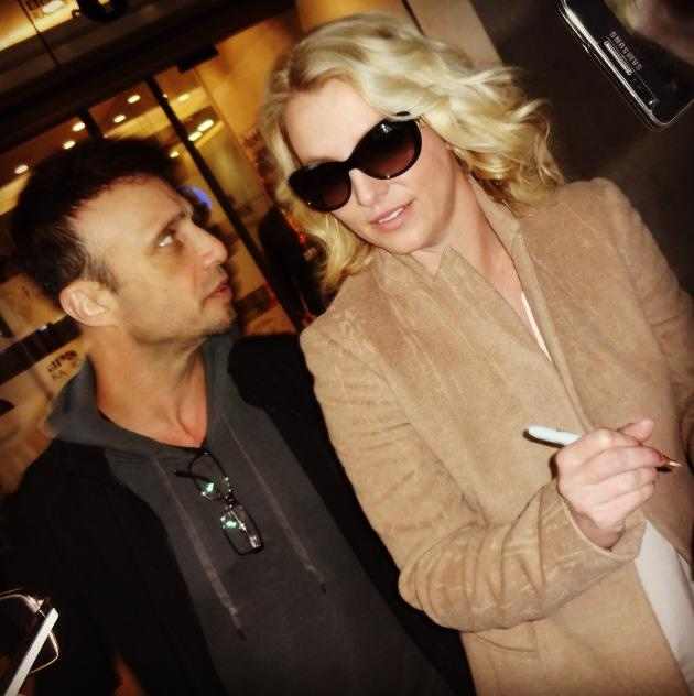 Britney Spears with her manager Larry Rudolph (he's also managing Miley Cyrus right now)