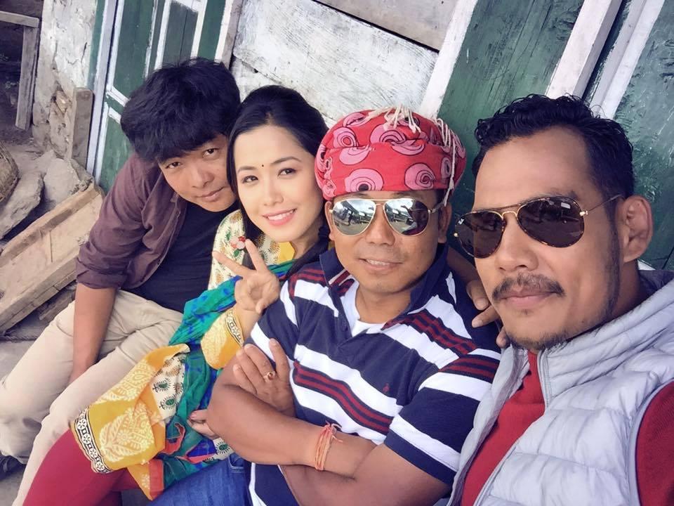 Dayahang Rai, Deeya Pun, director Milan Chams and Anoop Bikram Shahi