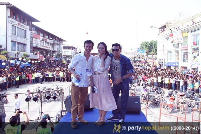 Malvika and Sanjay with Party Nepal's Shree Gurung