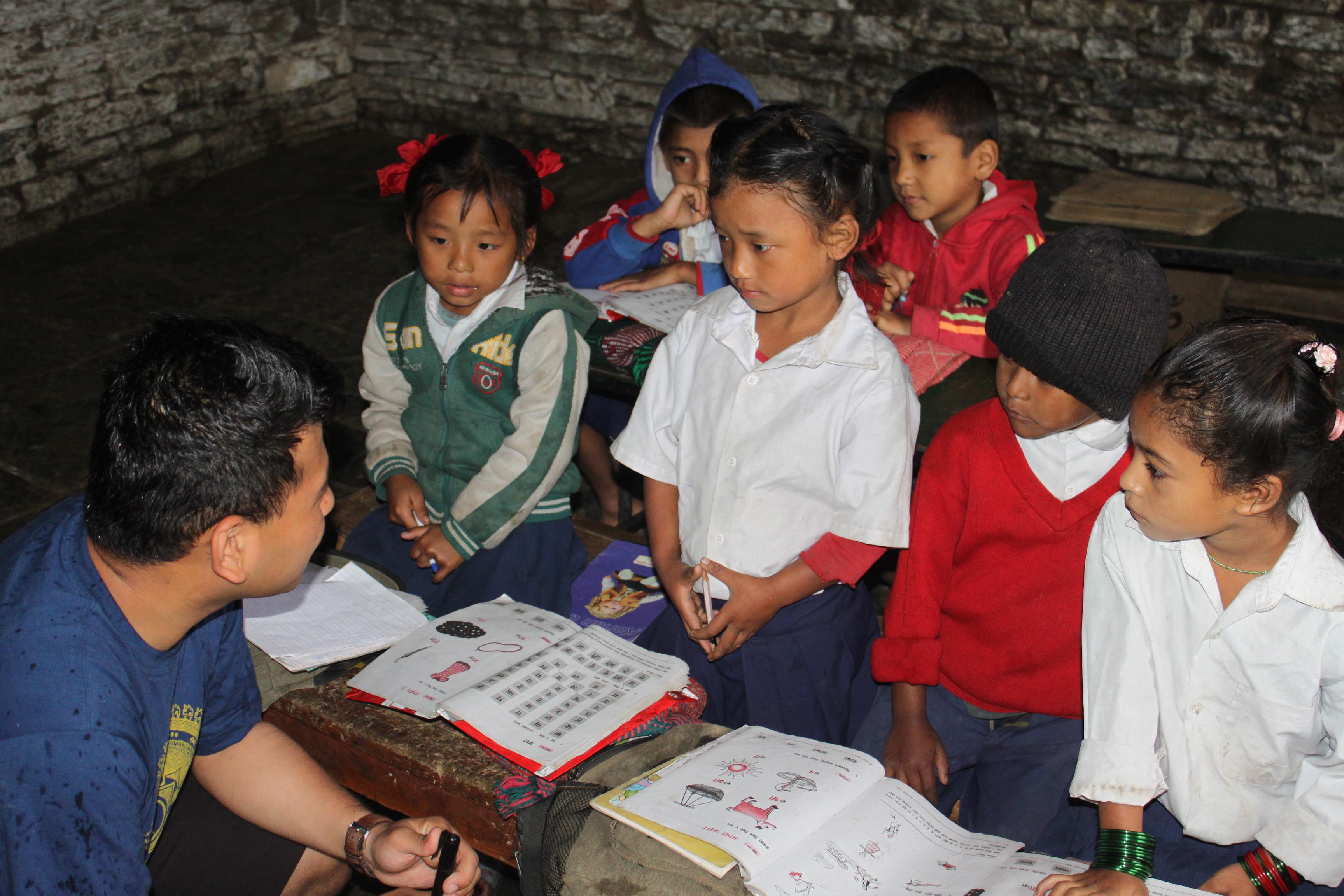 Project United member Diip Rana at Tikhyang School, Ghandruk.
