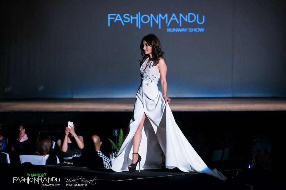Showstopper Namrata Shrestha wearing Anya Hurwood