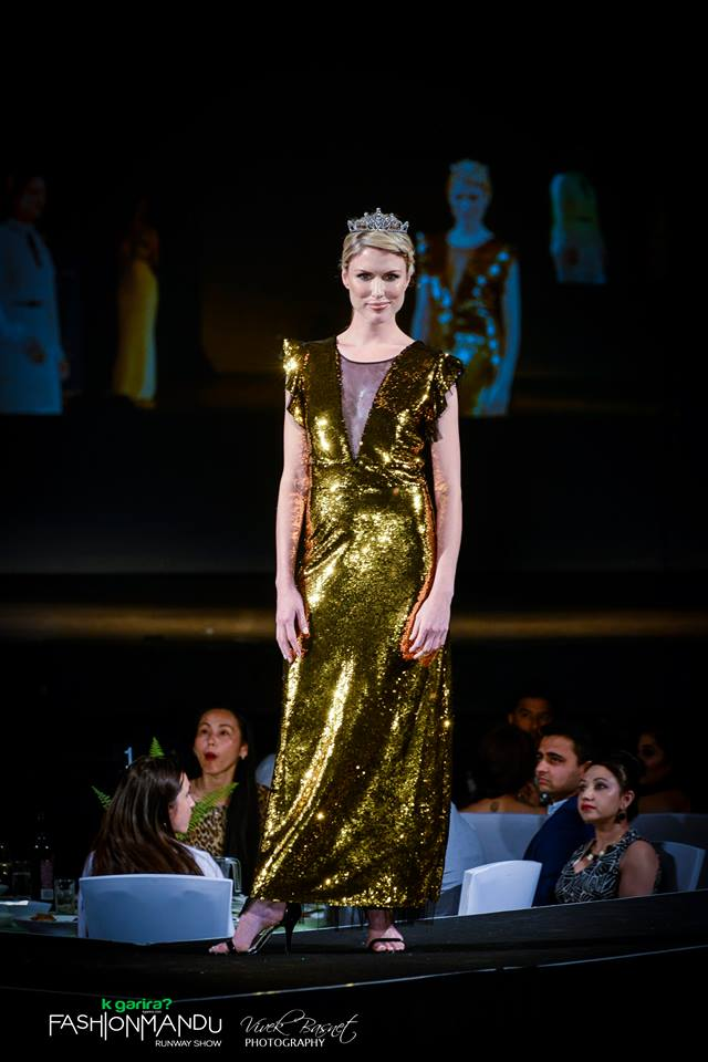 Showstopper Amie Bransgrove wearing Lena Kasparian