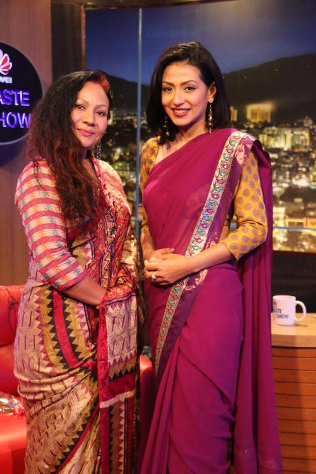 Gauri Malla with Sahana Bajracharya on Namaste TV Show
