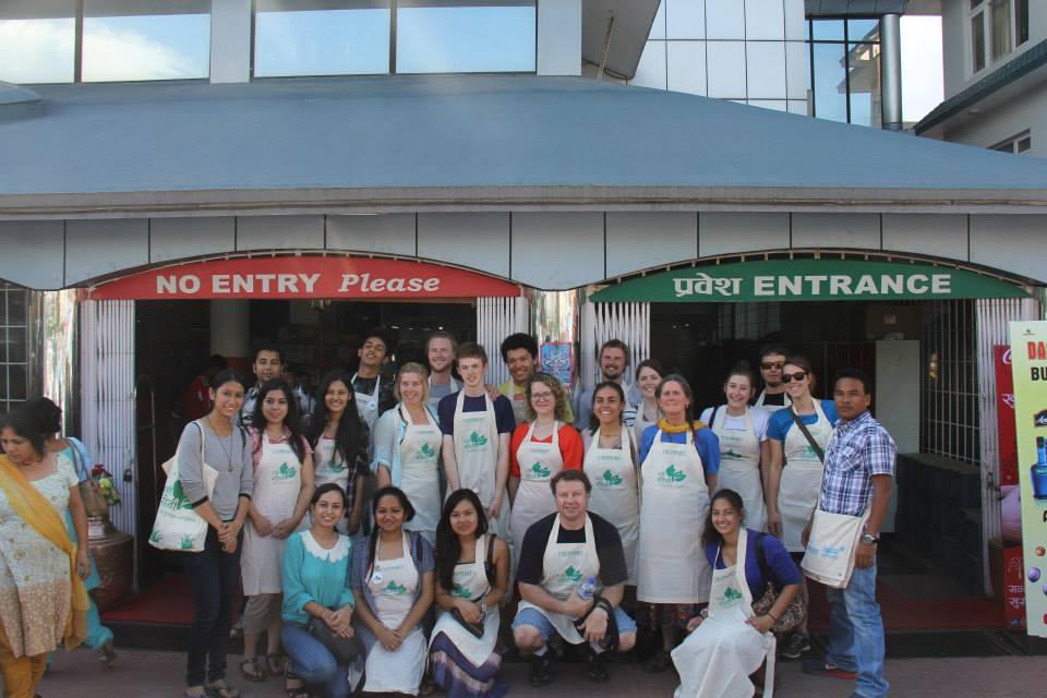 AYCC (Australian Youth Climate Coalition) Volunteers and The Gen Nep volunteers at Bhatbhateni, Naxal before the volunteering work.  Facebook: Hamri Bahini
