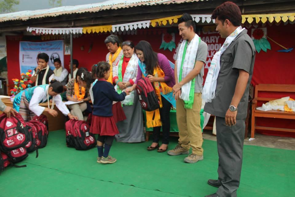 Bag distribution at Shree Taltuleshwory