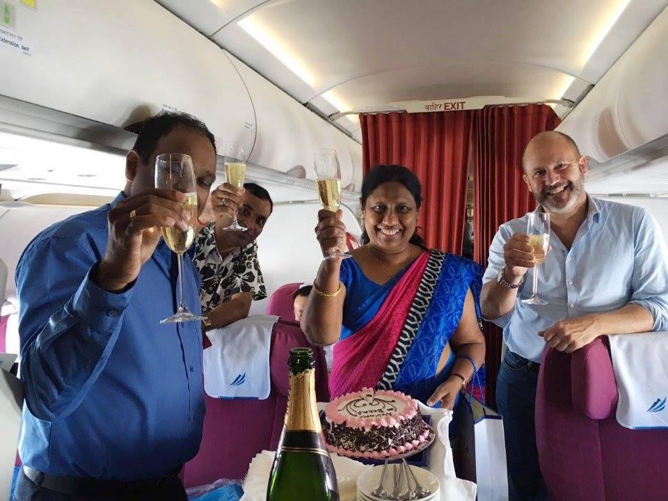 Celebrating the new route with a drink! Sri Lanka's Ambassador to Nepal Ms. W. Swarnalatha Perera  Photo: Himalaya Airlines