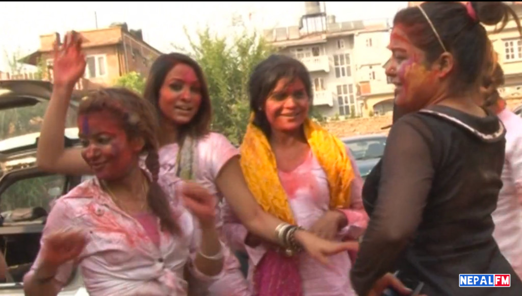 Rekha Thapa surrounded by fellow actresses