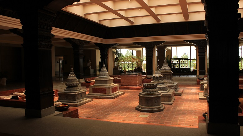 The beautiful lobby with the nine living 'Chaityas' - replicas of shrines built between 11th and 18th centuries in various regions of Nepal.