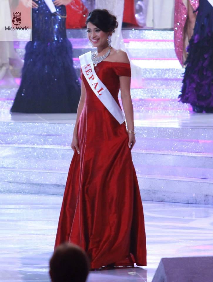 Ishani on stage at Miss World 2013