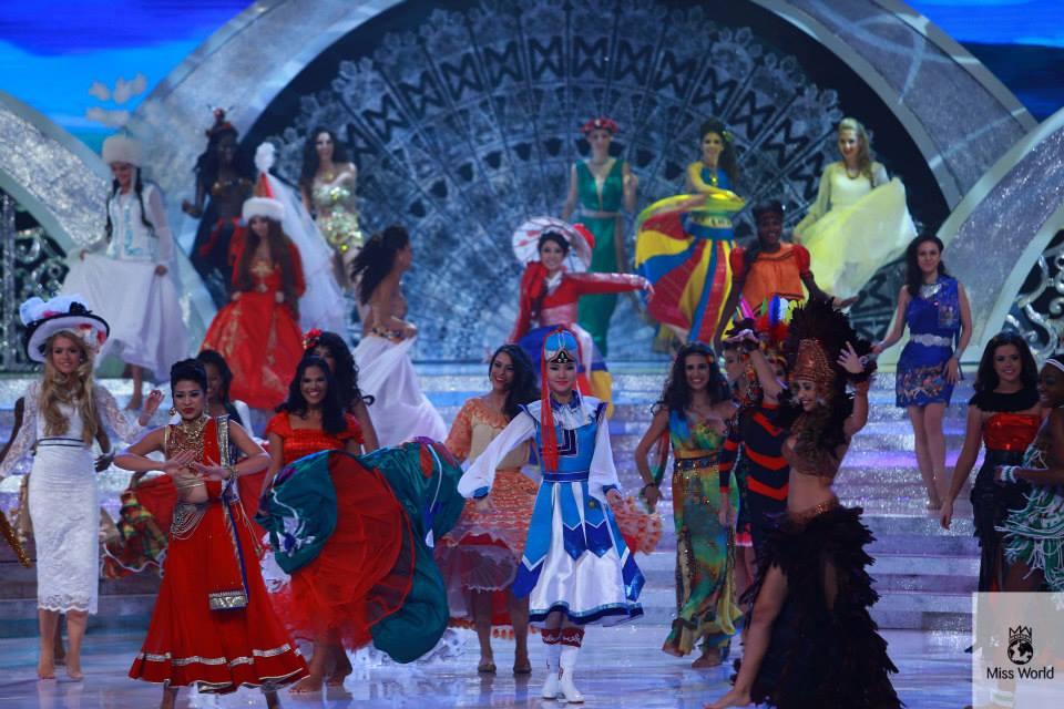 Ishani Shrestha on stage at Miss World 2013