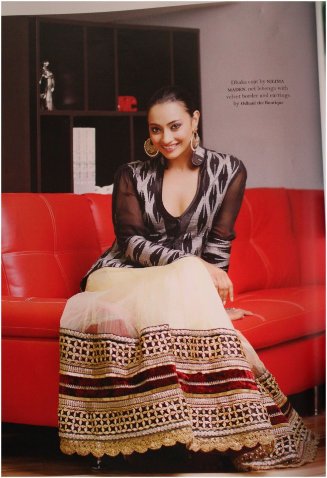 Wearing Oodni's piece (excluding the top) on the December issue of Wedding Bells