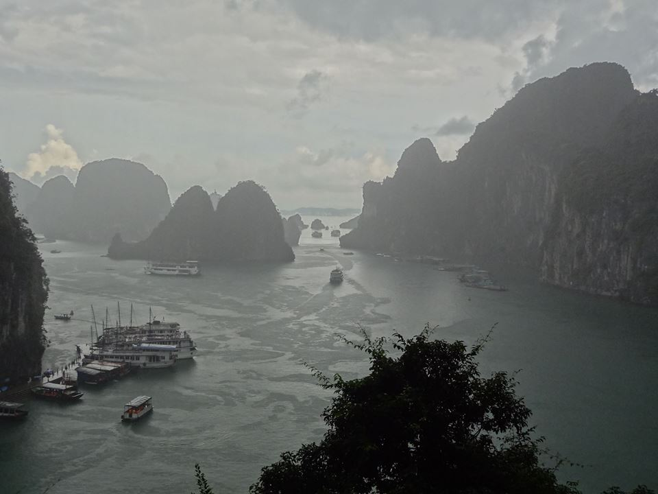 Aug 30: As we exited the Amazing Cave, one of the largest in Vietnam... this was the sight that greeted us. A beautiful downpour across what we could see of the majestic Halong Bay