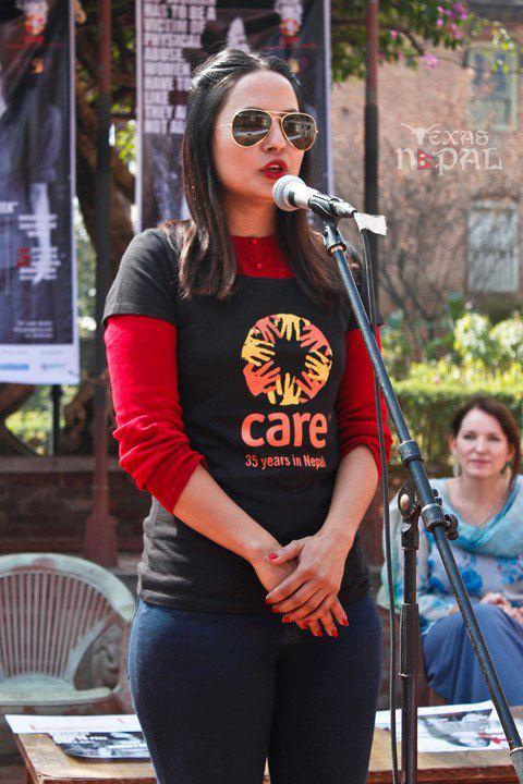 Malvika at the Womens Rally by CARE Nepal