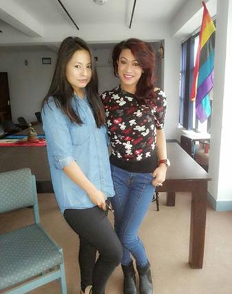 Malvika Subba with Bhumika Shrestha.