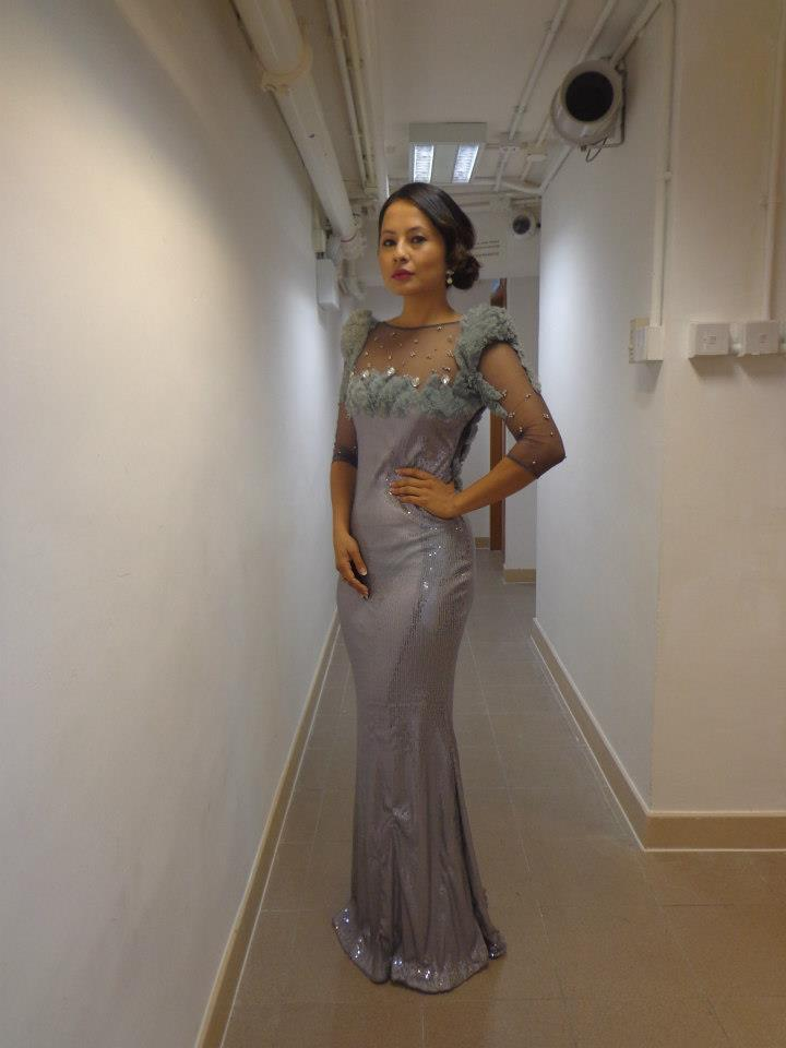 Malvika Subba wearing a gown by Bishwo Gautam