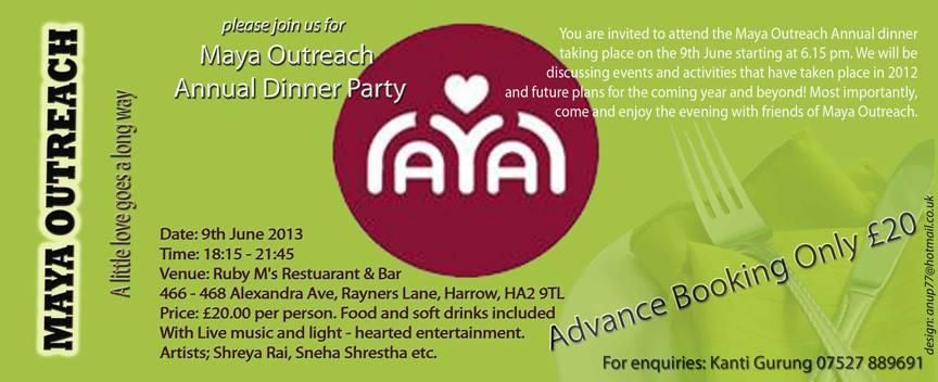 Maya Outreach Charity Dinner