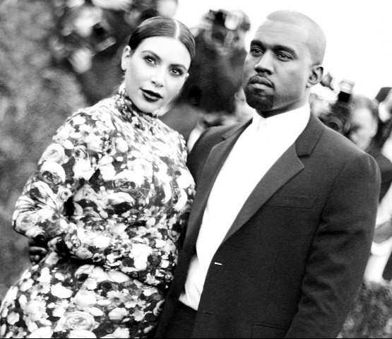 Kim Kardashian and Kanye West. Photographed by Kevin Tachman