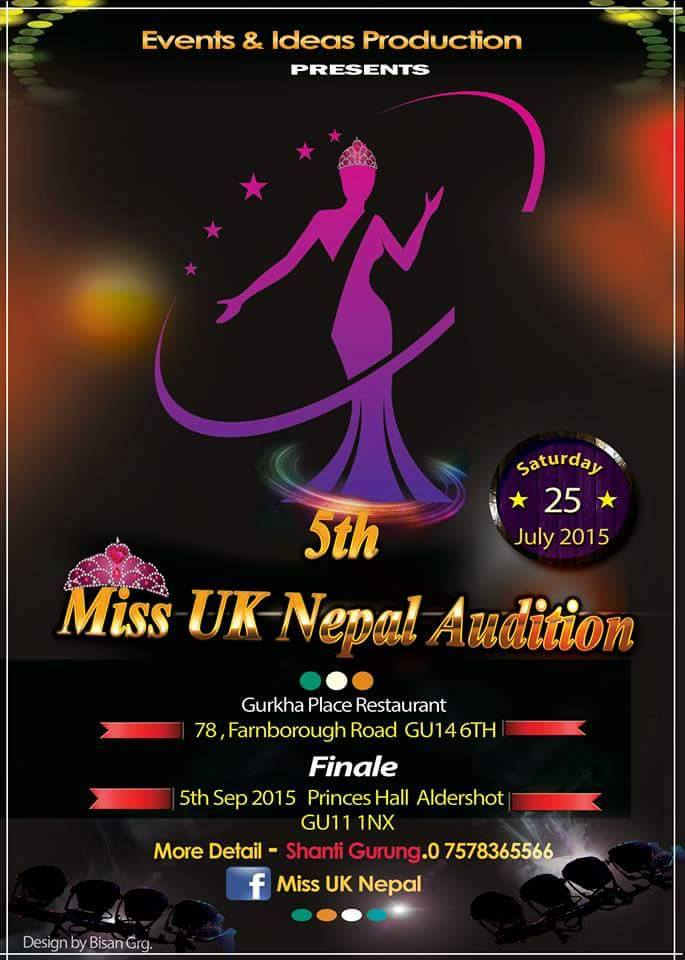 Auditions for Miss UK Nepal 2015 details.
