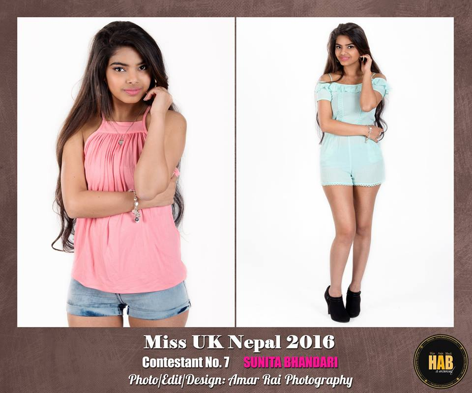 CONTESTANT NO. 7 Name: Sunita Bhandari Address:Middlesex, UK Age: 18 Height: 5.4' Weight: 40 Dress size: 8 Current/most recent education: ICT Hobbies: Dancing, Singing and Helping Occupation: Customer service at Wasbai Aim in future: Software Engineering Award and Honors: Nursing educational award.