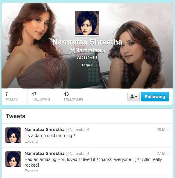 Namrata Shrestha Twitter