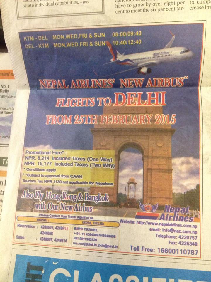 Nepal-Airlines-Delhi-Route