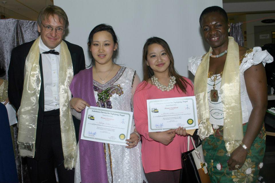 In first place, Bidhya Khebang Limbu and Prerana Limbu receiving their certificates.