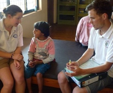 Caption from NCT site: Jo Waite and Holly Barwick came to volunteer in 2012 as students and returned as qualified physiotherapists in March 2013 for 5 months.  Along with 2 friends, they have helped to set up the new physiotherapy department, assessing all the children, setting up a records system and assisting and advising the resident physiotherapist  Subash.  They are staying in the volunteers quarters and it is the first time that we have had volunteers stay for such a long time.