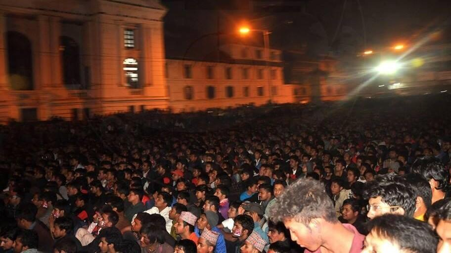 Supporters watching the game in Basantapur