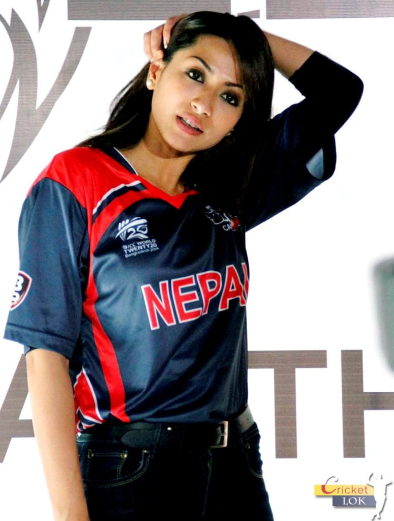 Ardent Nepali cricket supporter Sahana Bajracharya rocking her Nepali cricket team jersey! Photo: CricketLok.com