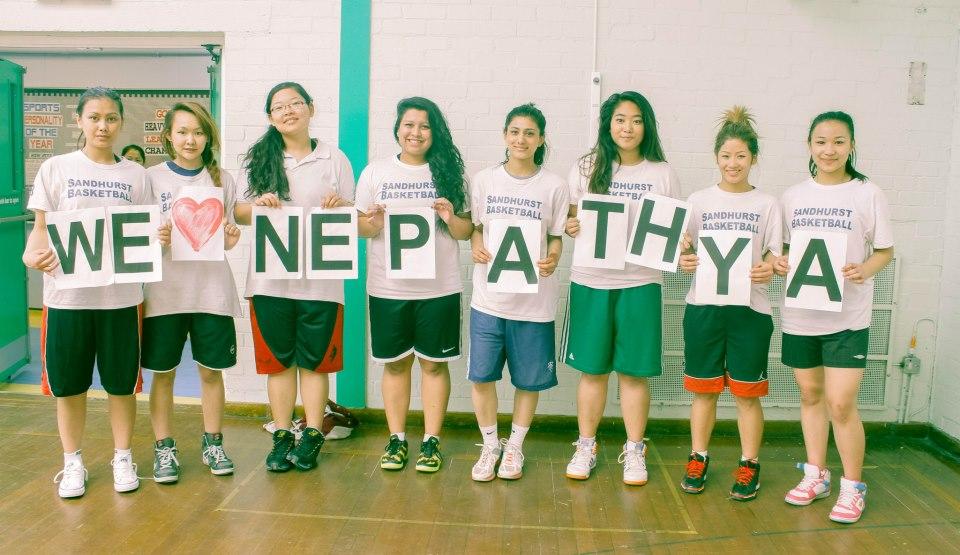 Sandhurst Girls Basketball team in full support.