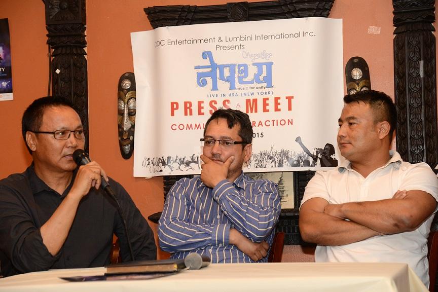 Sonam Lama (DRC NRN ICC), Bishwa Shah (Board of Director, Lumbini International Inc and MD of Khasokhas Weekly), Simant Gurung (ODC Entertainment)