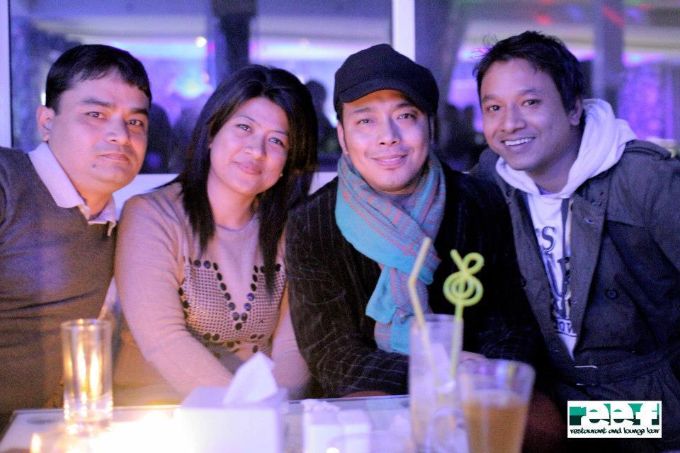 Nima Rumba and director Prachanda Shrestha with friends