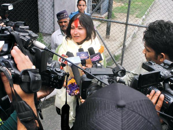 Nisha Adhikari arrives in Kathmandu. Photo by Kaushal Adhikari (Kantipur).