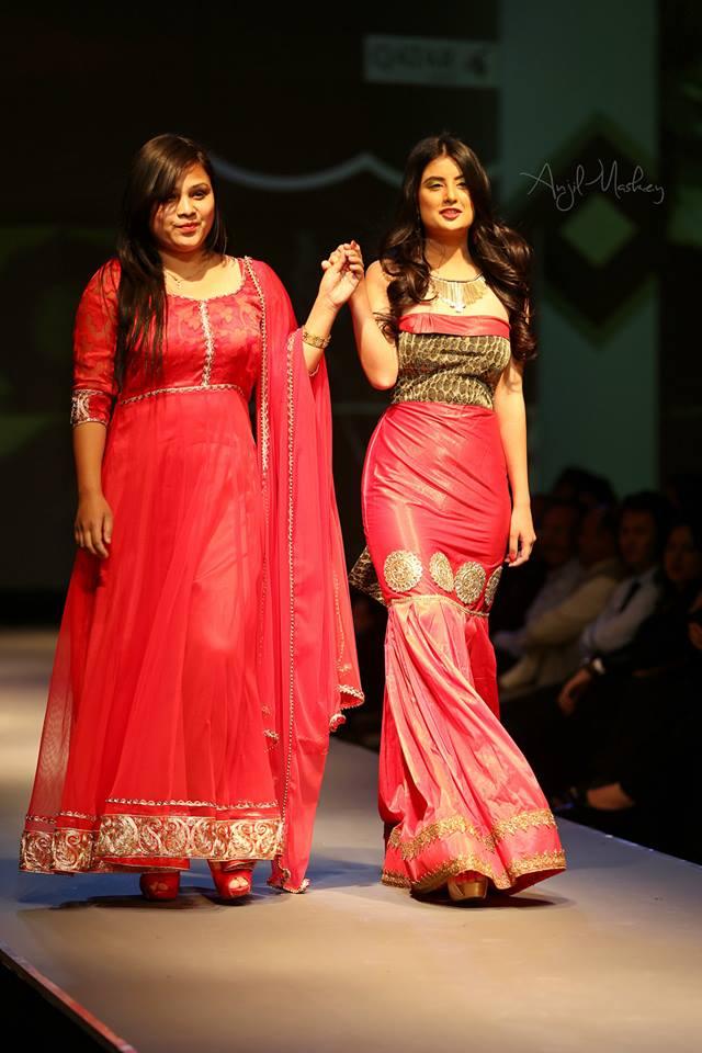 Niti Shah with designer Shama Banu. Photo: Anjil Maskey