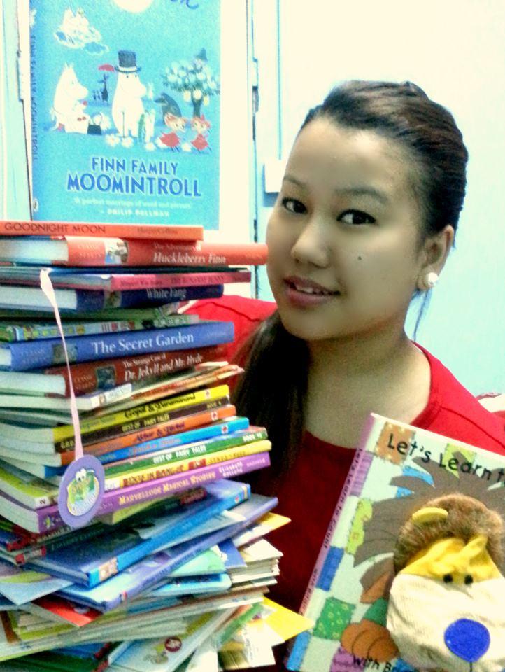 Parina with the Shiksha Nepal books