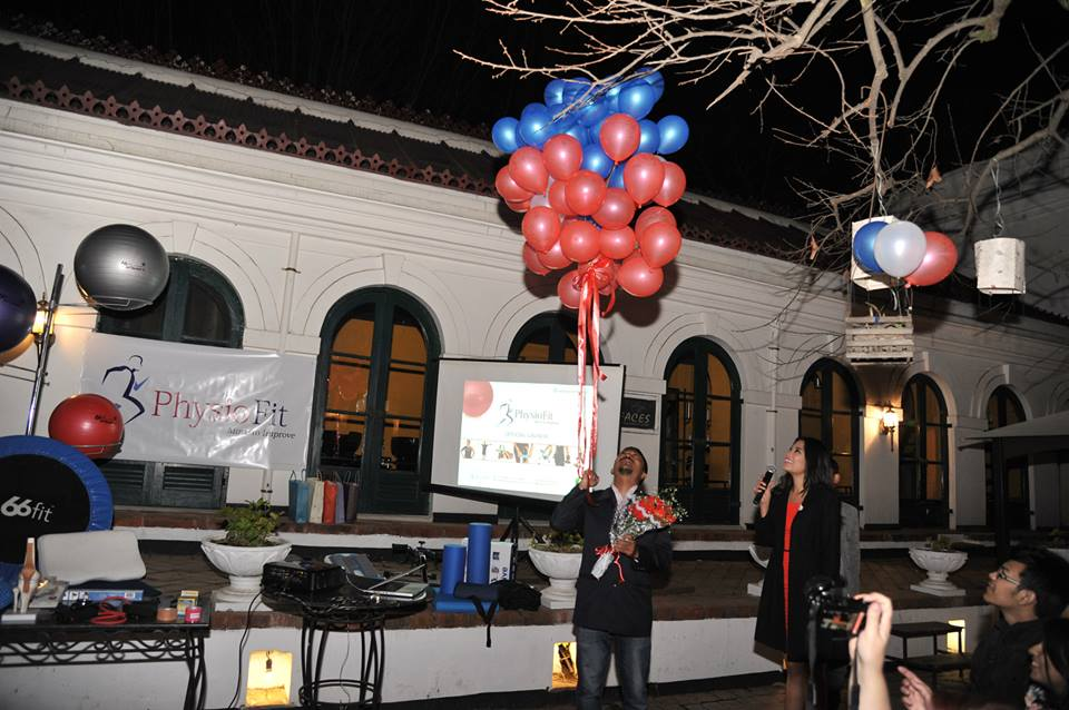 Nepal Physiotherapy Association President Nischal Shakya releasing the balloons