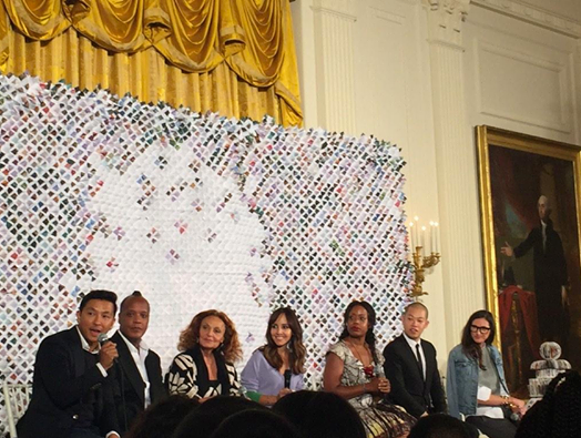 Prabal Gurung, DVF, Edward Wilkerson, Tracy Reese, Jenna Lyons and Jason Wu speak at the Fashion Education Workshop at the White House (Instagram: @prabalgurung)