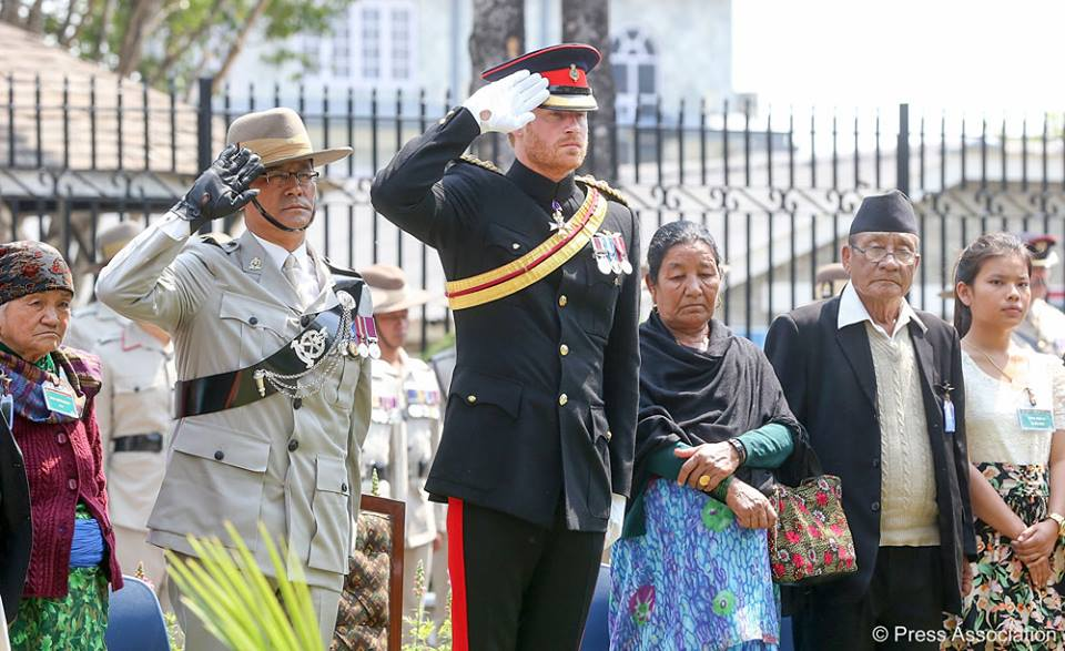Prince Harry pays respect to the Gurkhas who have died serving the crown in British Gurkhas Pokhara Camp