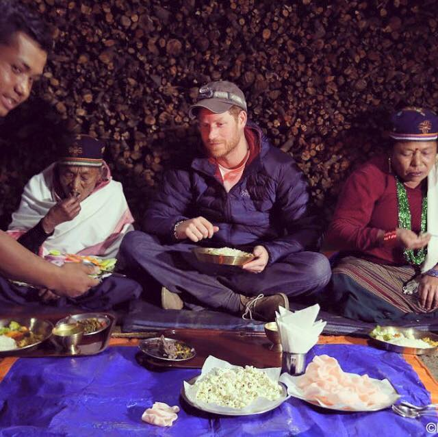 Prince Harry spent the night in a village home-stay and it also looks like, ate the best food!