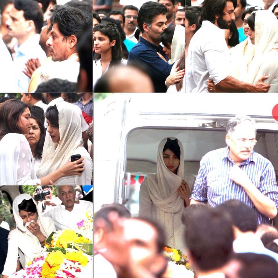SRK, Karan Johar, Ranveer Singh, Deepika Padukone at Dr Ashok Chopras funeral.