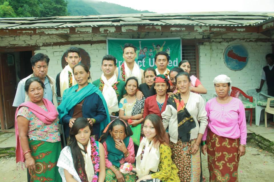 With members at Janapremi lower secondary school, Kimche, Ghandruk