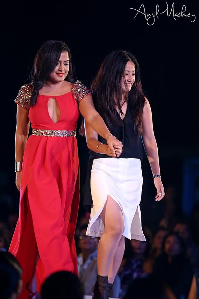 Designer Arati Limbu with actress Rekha Thapa