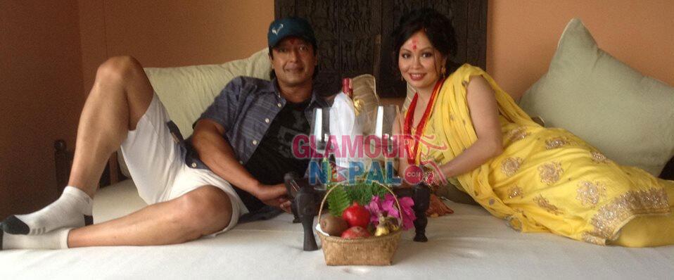 Rajesh Hamal and Madhu Bhattarai at the Dwarika Resort, Dhulikhel.  Photo: GlamourNepal.com